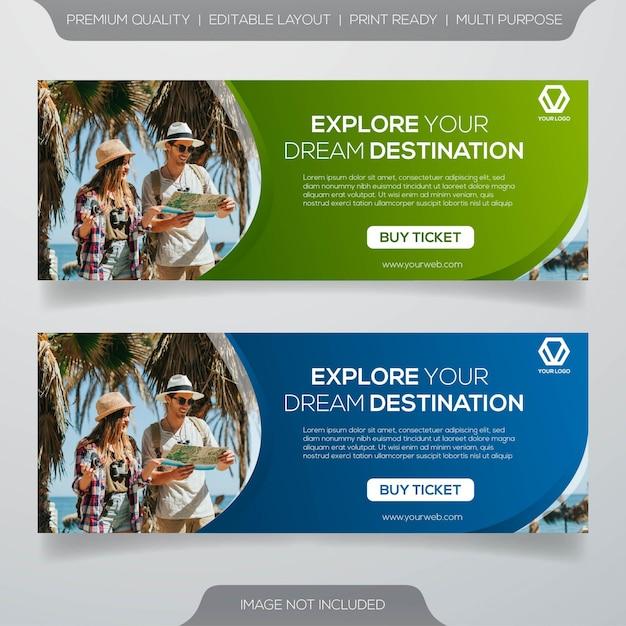 Banner pubblicitari di viaggi sui social media Vettore Premium