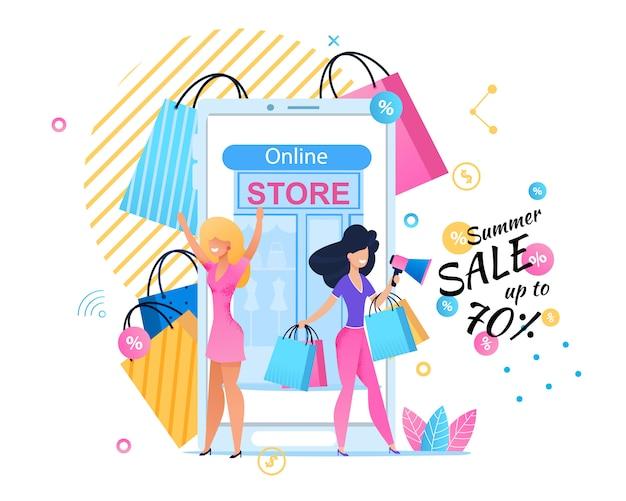 Banner pubblicitari vendite estive nel negozio online. Vettore Premium