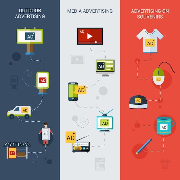 Banner pubblicitari verticali Vettore Premium