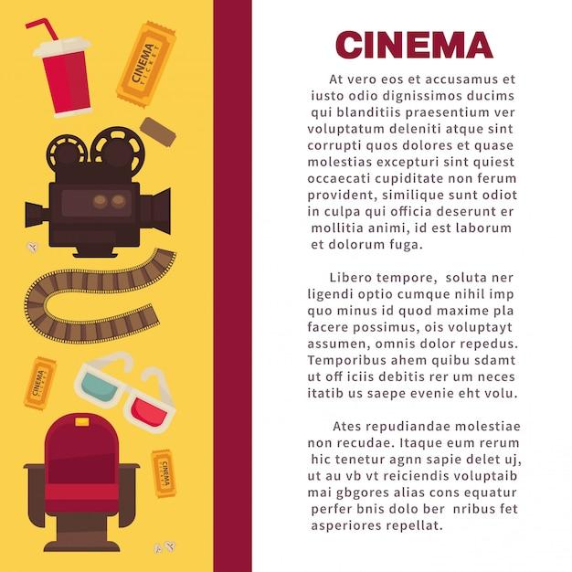 Banner pubblicitario cinematografico con attrezzature cinematografiche simboliche Vettore Premium
