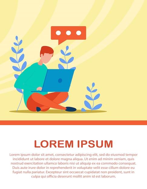 Banner pubblicitario con messaggistica uomo sul computer portatile Vettore Premium