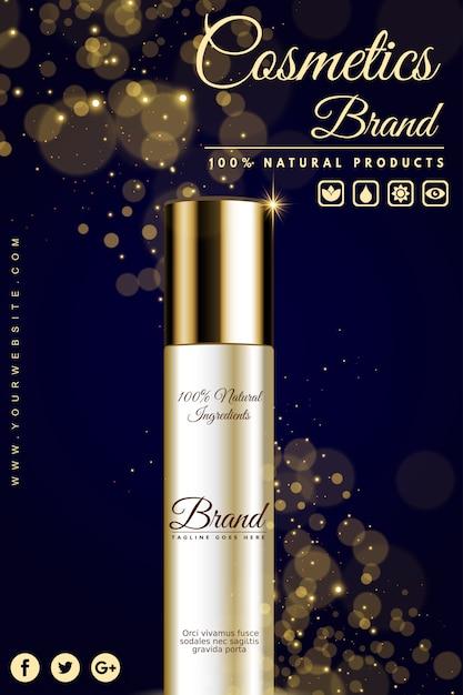 Banner pubblicitario cosmetico di lusso Vettore Premium