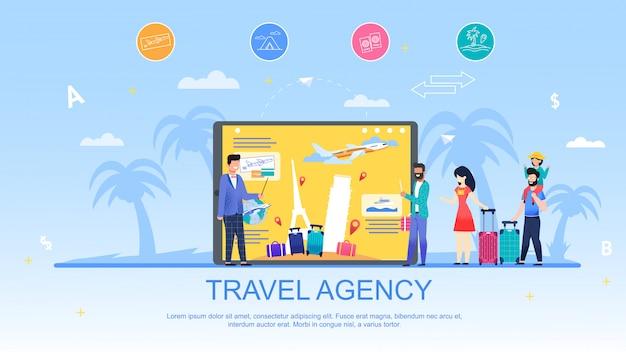 Banner pubblicitario di agenzia di viaggi e servizi. Vettore Premium