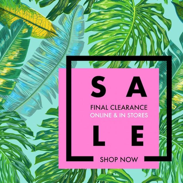 Banner pubblicitario di vendita estiva con foglie di palma Vettore Premium