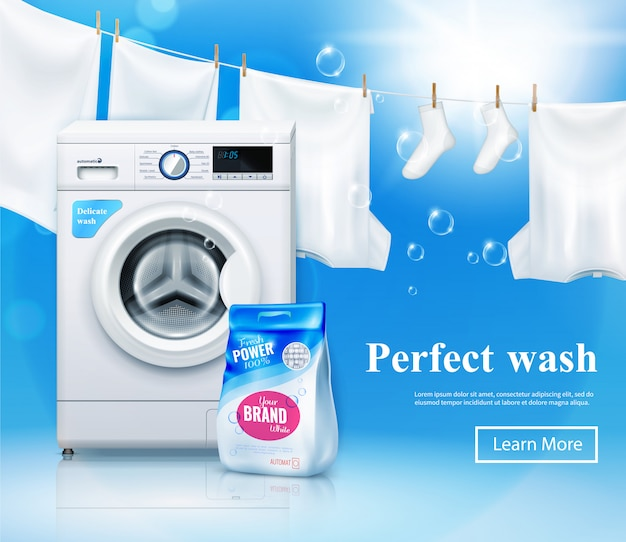 Banner pubblicitario per lavatrice con immagini realistiche di lavatrice e detersivo per bucato con testo e pulsante cliccabile Vettore gratuito
