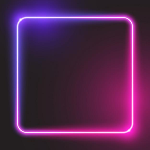 Banner quadrato arrotondato incandescente viola Vettore Premium