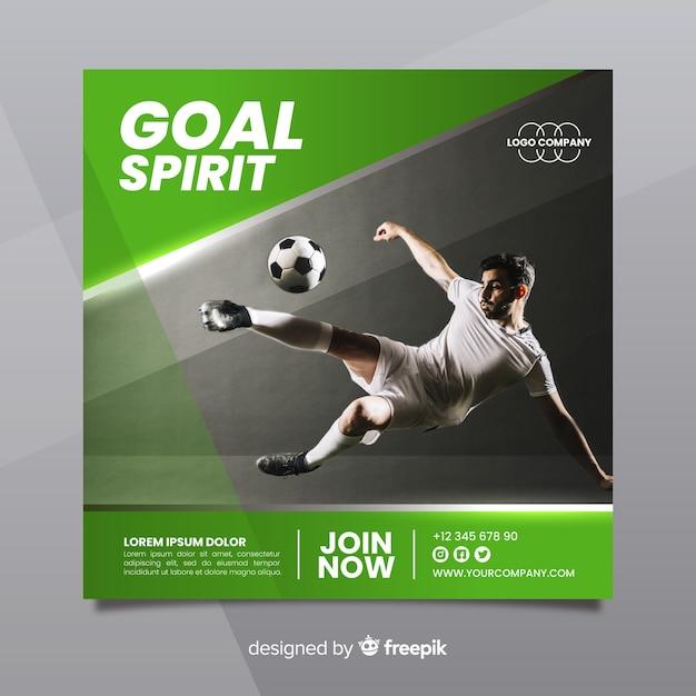 Banner quadrato di sport con foto Vettore gratuito