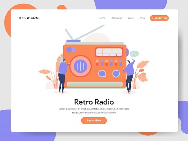 Banner radio retrò della landing page Vettore Premium