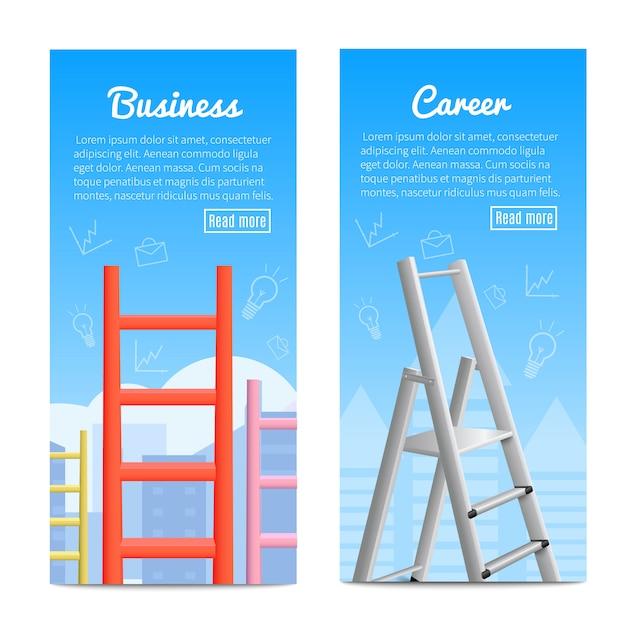 Banner realistici di scale di carriera Vettore gratuito