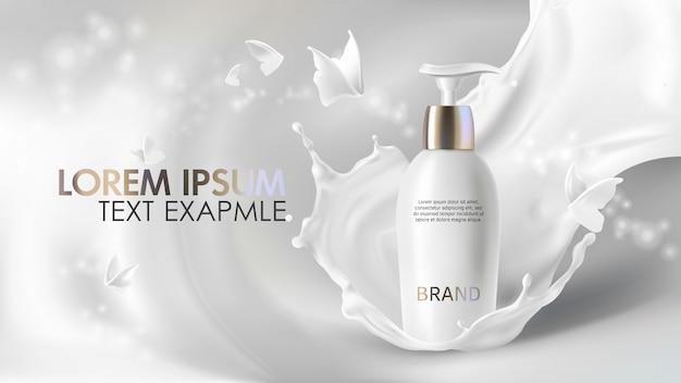 Banner realistico crema cosmetica Vettore gratuito