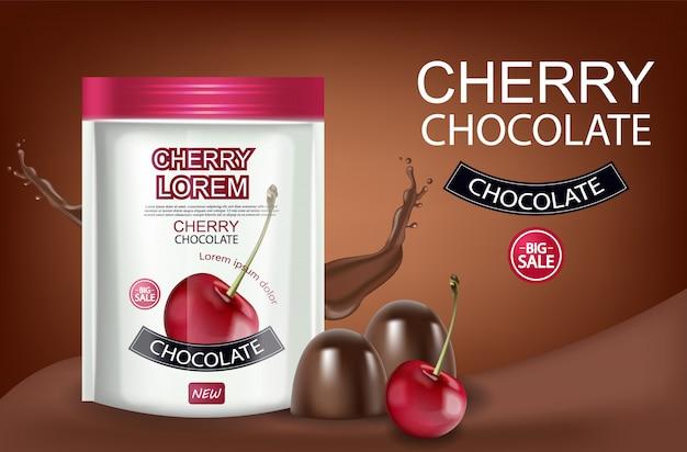 Banner realistico di cioccolato ciliegio Vettore Premium