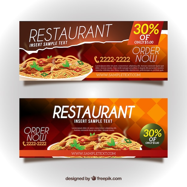 Banner ristorante di sconto Vettore gratuito