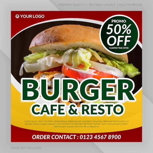 Banner ristorante hamburger Vettore Premium