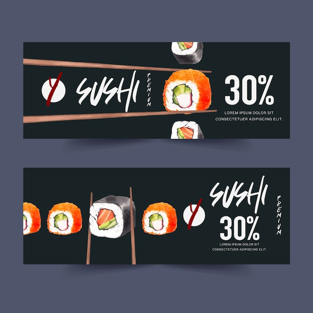Banner ristorante sushi Vettore gratuito