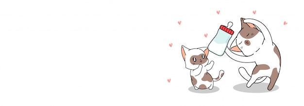 Banner saluto gatto carino sta alimentando il gatto bambino con il latte Vettore Premium