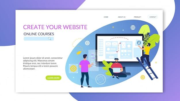 Banner scritto alla grande il tuo sito web corsi online. Vettore gratuito