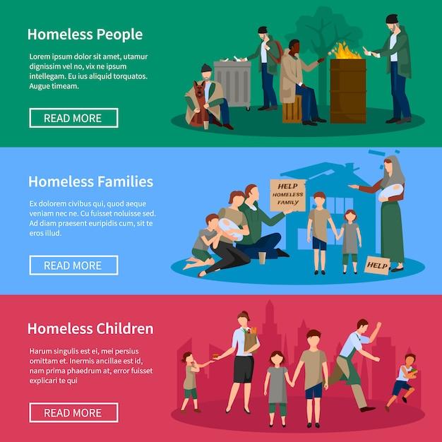 Banner senza casa set con persone che vivono per strada senza cibo e denaro Vettore gratuito