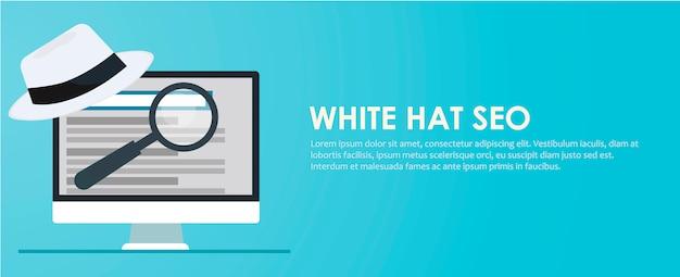 Banner seo cappello bianco e nero. lente di ingrandimento e altri strumenti di ottimizzazione dei motori di ricerca Vettore gratuito