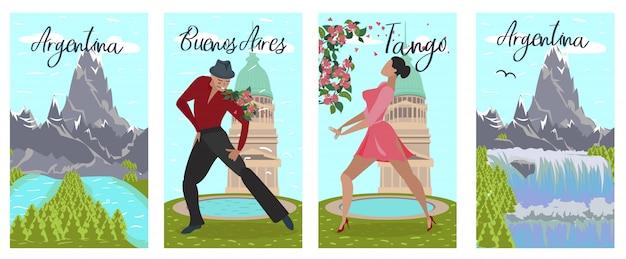 Banner set argentina buenos aires tango lettering Vettore Premium