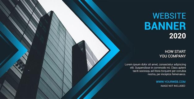 Banner sito web moderno con forme blu abtract Vettore gratuito