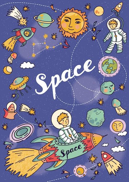 Banner spaziale con pianeti, razzi, astronauta e stelle. sfondo infantile. illustrazione disegnata a mano Vettore Premium