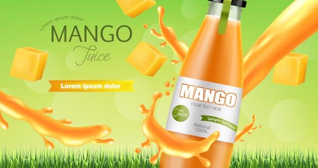Banner splash di succo di mango Vettore Premium