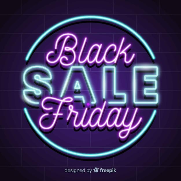 Banner super vendita venerdì nero neon Vettore gratuito