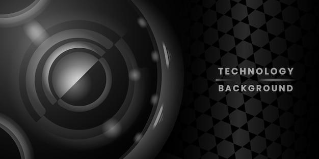 Banner tecnologico nero Vettore gratuito