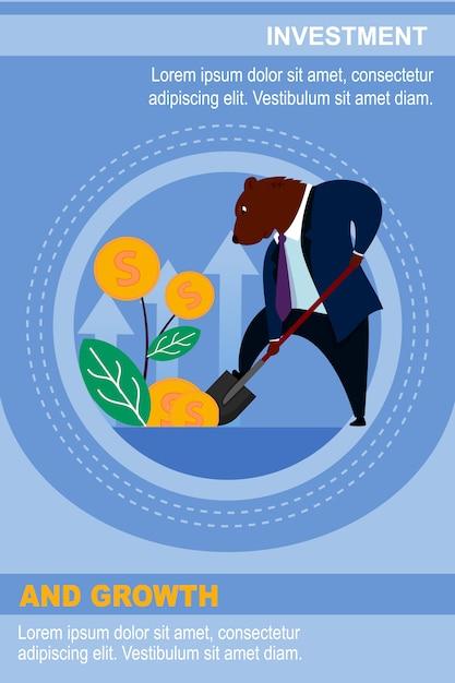 Banner template trader bear invest dollar e wait growth Vettore Premium