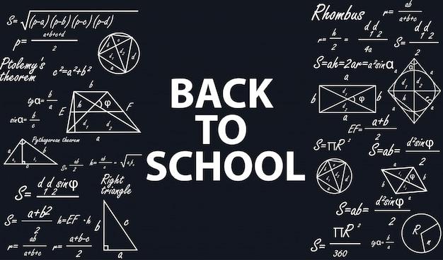 Banner torna a scuola con figure geometriche. Vettore Premium