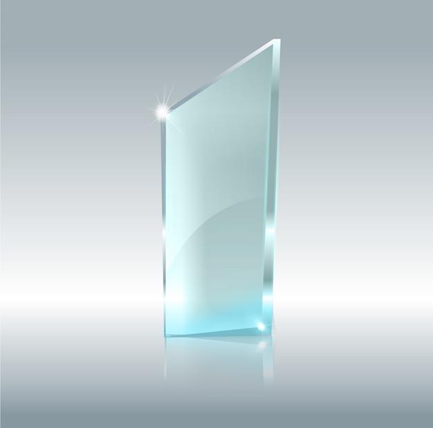 Banner trasparente in vetro. lastre di vetro con un posto per iscrizioni isolato su sfondo trasparente. Vettore Premium