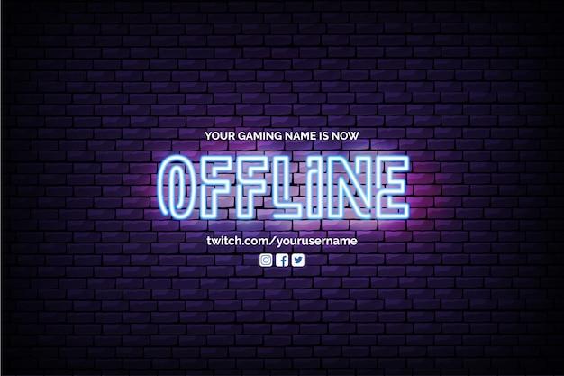 Banner twitch attualmente offline con design al neon Vettore gratuito