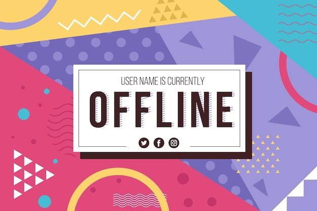 Banner twitch offline nel design di memphis Vettore gratuito