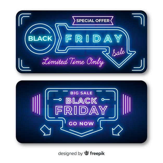 Banner venerdì nero al neon con luci a freccia Vettore gratuito