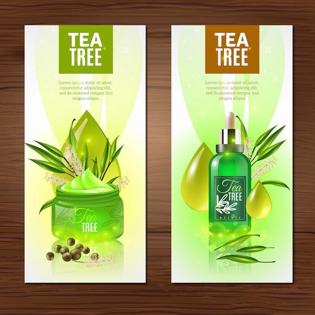 Banner verticale dell'albero del tè Vettore gratuito