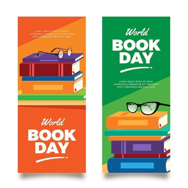 Banner verticale giornata mondiale del libro Vettore gratuito