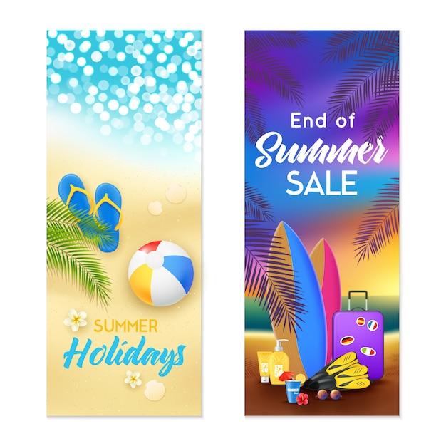 Banner verticale summer beach Vettore gratuito
