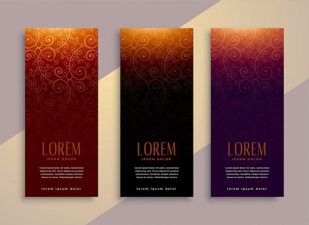 Banner verticali reali in stile lussuoso Vettore gratuito