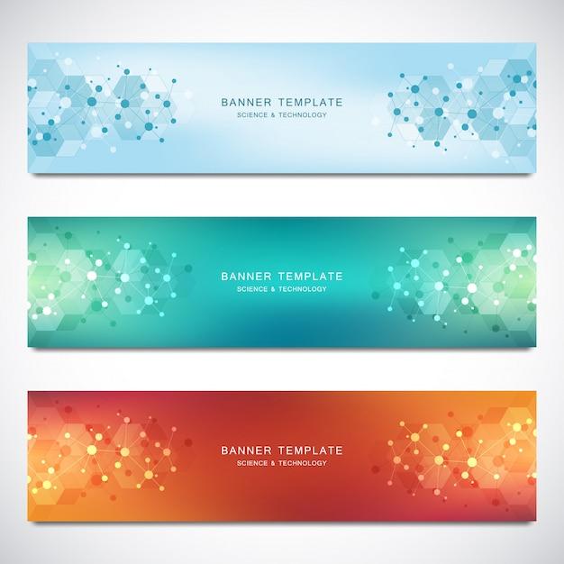 Banner vettoriali e intestazioni per sito con sfondo di molecole e rete neurale. ingegneria genetica o ricerca di laboratorio. Vettore Premium