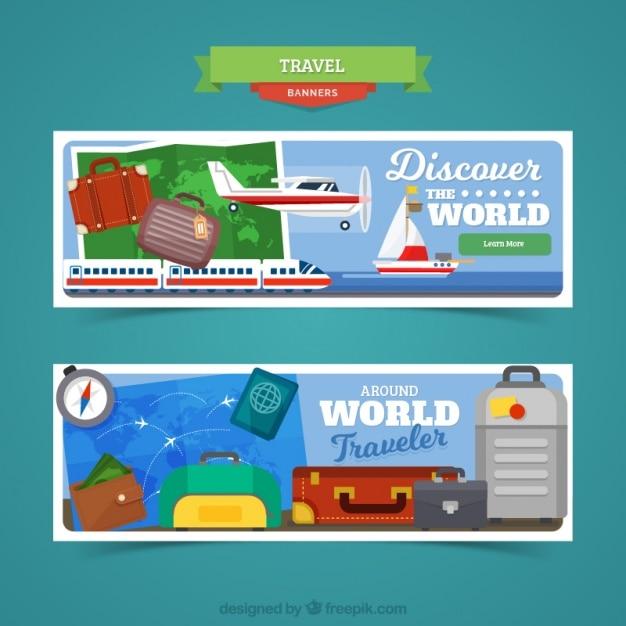Banner viaggio con diversi tipi di veicoli e bagagli scaricare vettori gratis - Diversi tipi di turismo ...