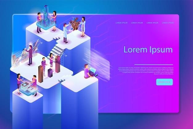 Banner web dei futuri servizi digitali per il lavoro Vettore Premium