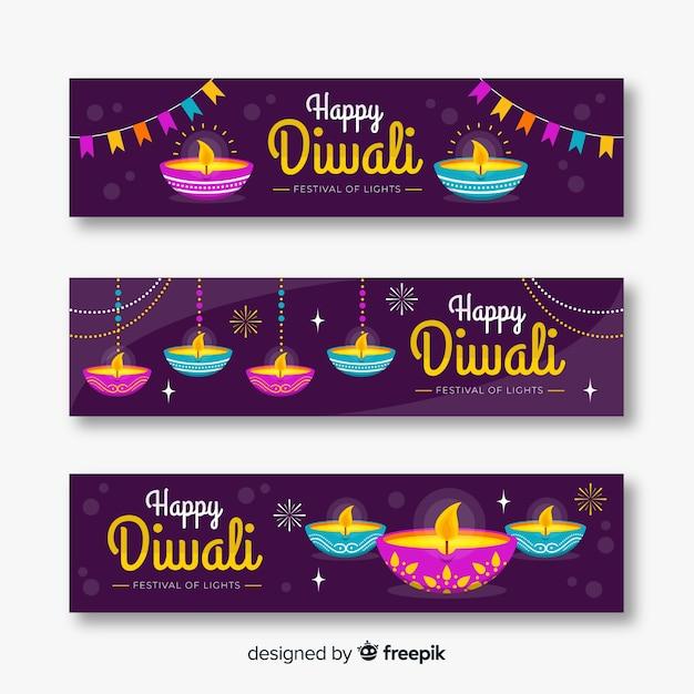Banner web design piatto diwali Vettore gratuito