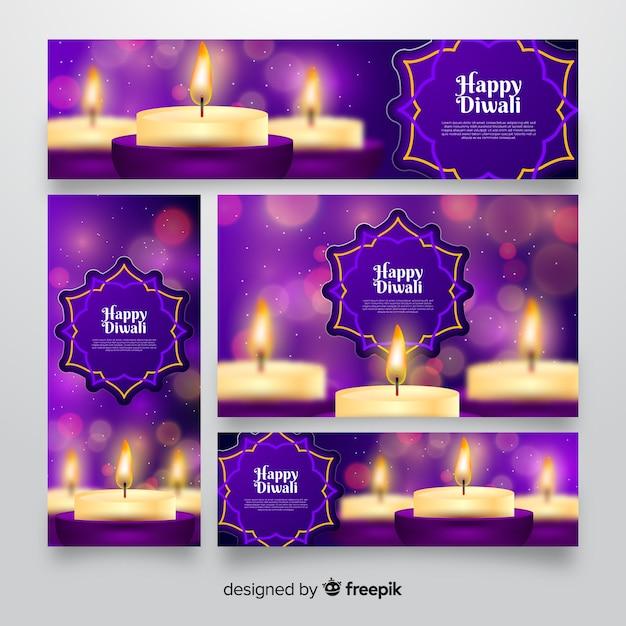 Banner web design realistico di diwali Vettore gratuito