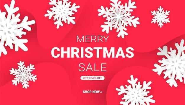 Banner web di buon natale e felice anno nuovo con fiocchi di neve taglio carta minimalista Vettore Premium