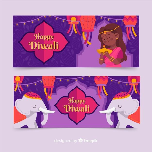 Banner web di diwali stile disegnato a mano Vettore gratuito
