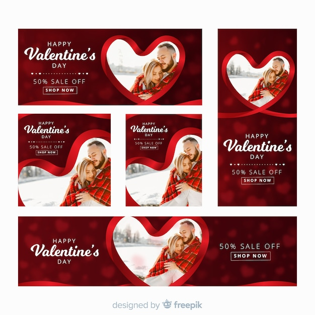 Banner web di san valentino con foto Vettore gratuito