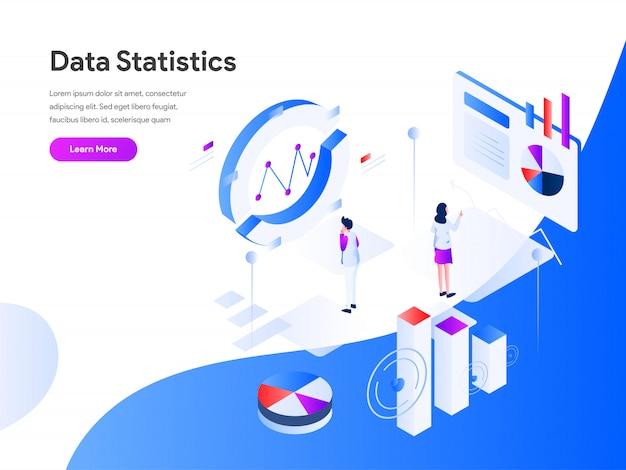 Banner web di statistiche statistiche isometriche Vettore Premium