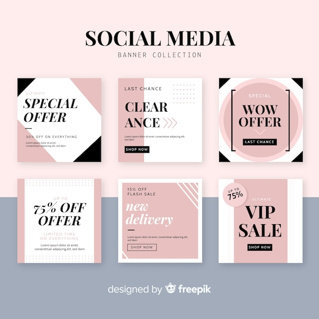 Banner web di vendita per social media Vettore gratuito