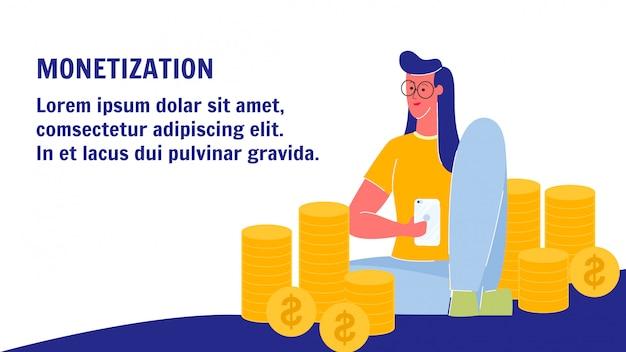 Banner web di vettore di monetizzazione con lo spazio del testo Vettore Premium