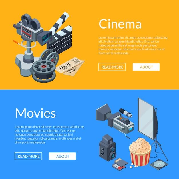 Banner web elementi isometrici cinematografia Vettore Premium